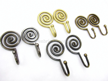 2 Spiral curtain tassel wall tie hooks - Strong metal swirl design - 4 Colours